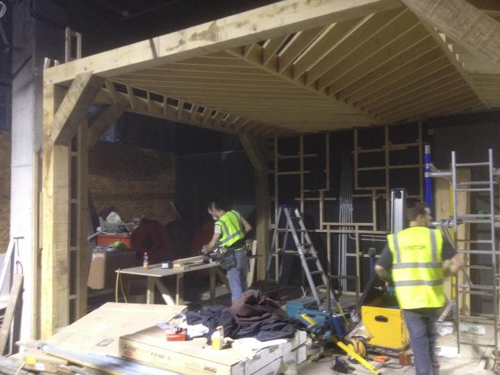 Oak timber frame in construction for shop fit out for famous high street brand