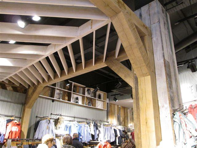 Oak timber frame for shop fit out for famous high street brand