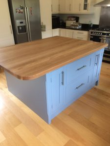 The island has an oak top and a pofessional spray paint finish. Completed in our workshop, Netley, Shrewsbury, Shopshire