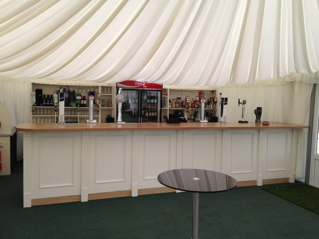 Handpainted bespoke drinks bar with solid Oak bar top for Shropshire wedding venue