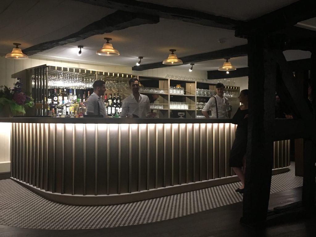 Bespoke bar and wine glass holders for champagne bar in Shrewsbury