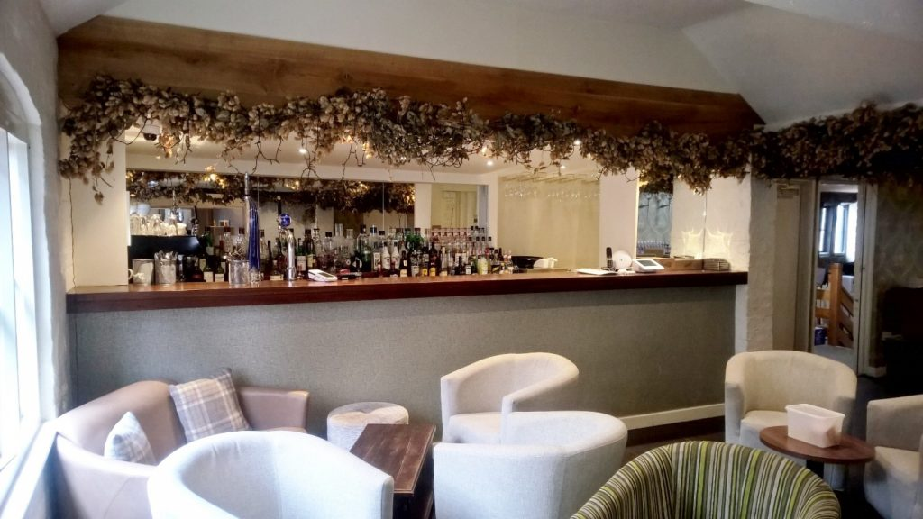Oak Beam Above Wine Bar Interior Fit Out in Shropshire